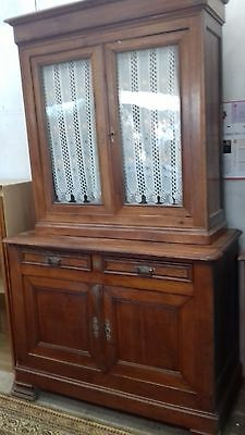 Beautiful Antique  French Tall Sideboard /dresser Glass Doors With Keys