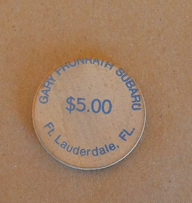VTG Wooden Nickel Gary Frunrath Subaru $5 Ft. Lauderdale FL Blue Ink