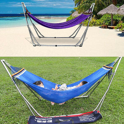 HAMMOCK STAND Saving with Folding Steel Outdoor Indoor Beach Lounger Chair Bed