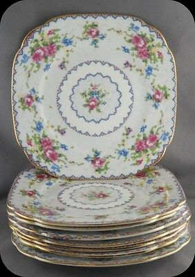 Lot of Eight Royal Albert Petit Point Bread and Butter Plates