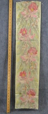 water silk floral ribbon 8 x 37 in. best millinery antique original