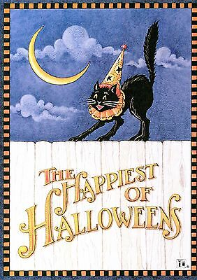 Mary Engelbreit-HAPPIEST OF HALLOWEENS CAT MOON-Halloween Card w/Envelope-NEW