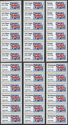 GB 2013 Post & Go Union Flag stamps full u/m set of 36 with overprint The BPMA.