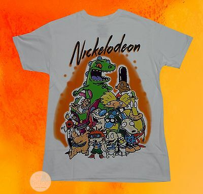 New Nickelodeon 90s TV Shows Group Cast Airbrush Men's Vintage Retro T-Shirt