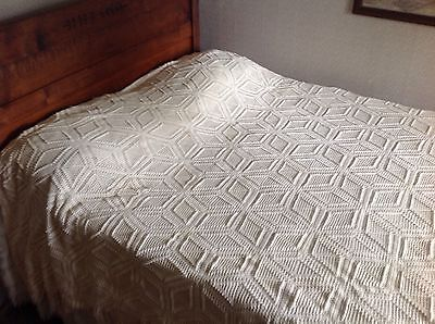 "Hand Crocheted Cotton Bedspread 96"" x 80"" Early 1900's"