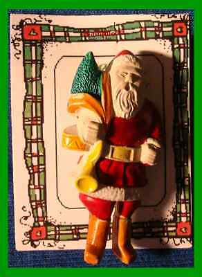 Christmas PIN #0303 Vintage Santa Carry Tree & Horn White Enamel HOLIDAY Brooch