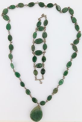 Antique Jadeite / Nephrite Long Necklace With Matching Bracelet.