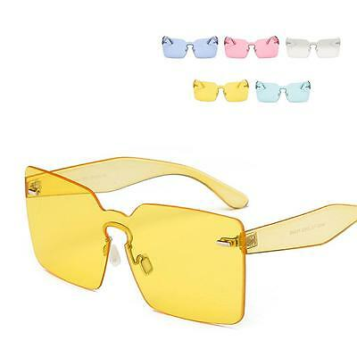 Women Oversize Sunglasses Square Candy Color Clear Rimless Gradient Lens MMY