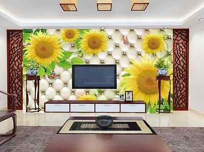 3D Butterflies And Sunflowers 32 Wall Paper Wall Print Decal Wall AJ Wall Paper