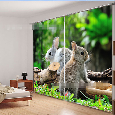 3D Cute Rabbits Blockout Photo Curtain Printing Curtains Drapes Fabric Window CA
