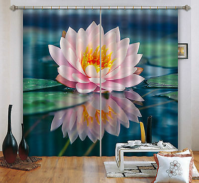 3D Water Lily 4 Blockout Photo Curtain Printing Curtains Drapes Fabric Window CA