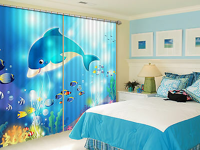 3D Cute Dolphin Blockout Photo Curtain Printing Curtains Drapes Fabric Window CA