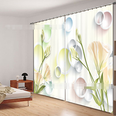 3D Ring Flower Blockout Photo Curtain Printing Curtains Drapes Fabric Window CA