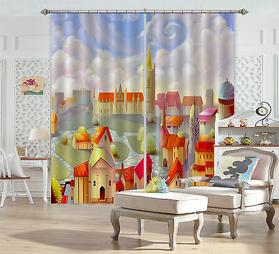 3D Cartoon Town Blockout Photo Curtain Printing Curtains Drapes Fabric Window CA