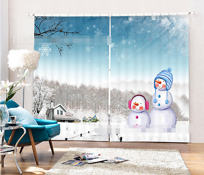 3D Snowman 4961 Blockout Photo Curtain Printing Curtains Drapes Fabric Window CA