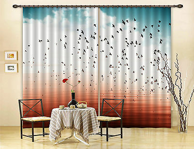 3D Flying Birds Blockout Photo Curtain Printing Curtains Drapes Fabric Window CA