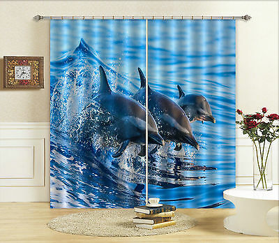 3D Dolphins 501 Blockout Photo Curtain Printing Curtains Drapes Fabric Window CA