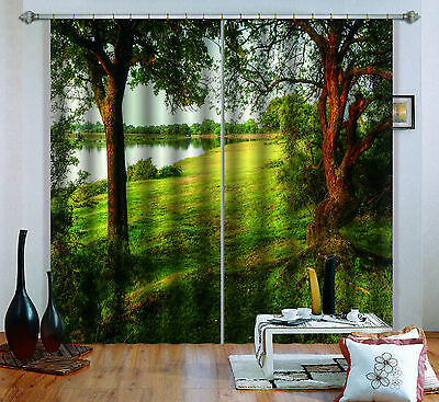 3D Trees Lake 9 Blockout Photo Curtain Printing Curtains Drapes Fabric Window CA