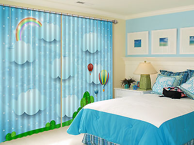 3D Cute Clouds Blockout Photo Curtain Printing Curtains Drapes Fabric Window CA