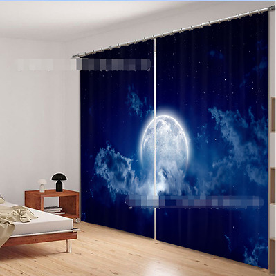 3D Bright Moon Blockout Photo Curtain Printing Curtains Drapes Fabric Window CA