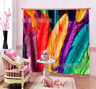 3D Color Feathers Blockout Photo Curtain Printing Curtain Drape Fabric Window CA