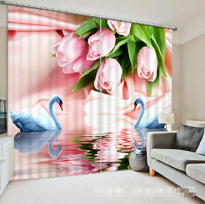 3D Tulips Swans Blockout Photo Curtain Printing Curtains Drapes Fabric Window CA