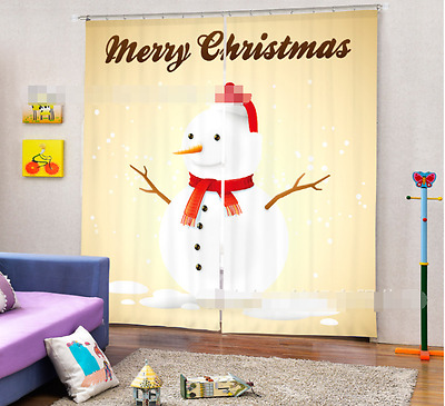 3D Snowman 342 Blockout Photo Curtain Printing Curtains Drapes Fabric Window CA