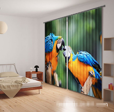 3D Cute Parrots Blockout Photo Curtain Printing Curtains Drapes Fabric Window CA