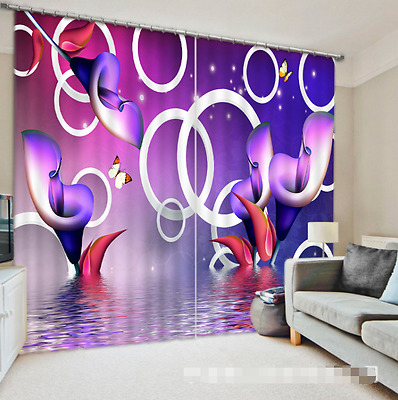 3D Calla Lily 1 Blockout Photo Curtain Printing Curtains Drapes Fabric Window CA