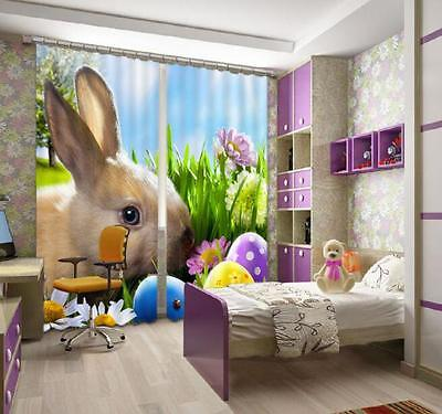 3D Lovely Rabbit Blockout Photo Curtain Printing Curtain Drapes Fabric Window CA