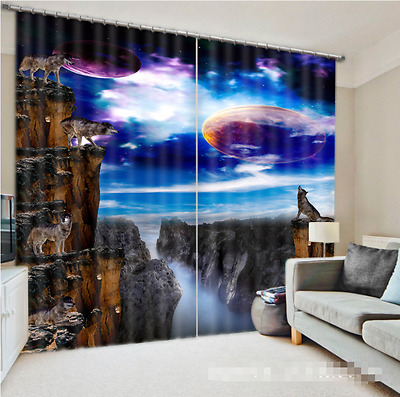 3D Wolves Planet Blockout Photo Curtain Printing Curtain Drapes Fabric Window CA