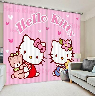 3D Cartoon Cats Blockout Photo Curtain Printing Curtains Drapes Fabric Window CA