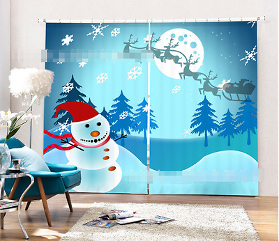 3D Snowman Xmas Blockout Photo Curtain Printing Curtains Drapes Fabric Window CA