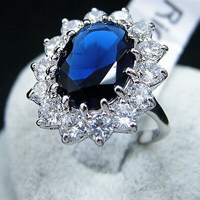 Fashion Women Silver Plated Big Blue Crystal Wedding Engagement Ring Jewelry