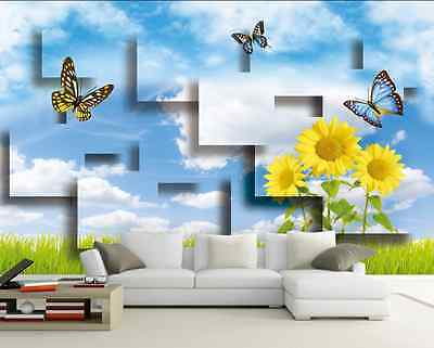 3D Sunflowers And Butterflies 35 Wall Paper Wall Print Decal Wall AJ Wall Paper