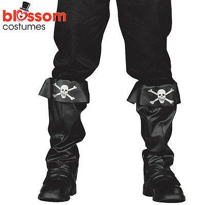AC121 Mens Black Deluxe Pirate Costume Boot Top Shoes Covers Costume Accessory