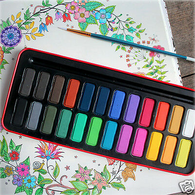 12/28/24 Colors Solid Watercolor Paint Set Tin Box Drawing Painting Stationery