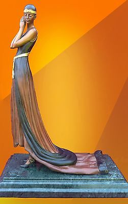 Art Deco Bronze Statue Girl Fashion Sculpture Hot Cast Lady Figure Figurine