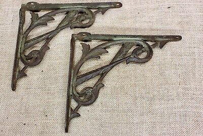 """2 old Shelf brackets 7 X 8"""" vintage rustic cast iron supports rare! ARROWS"""
