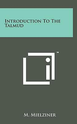 Introduction to the Talmud by M. Mielziner (English) Hardcover Book Free Shippin