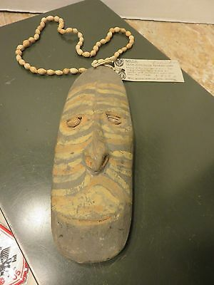 Vintage Papua New Guinea Wood Mask Middle Sepik River Region Necklace  #BK