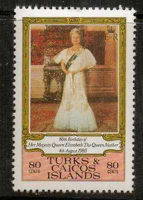 TURKS & CAICOS IS. SG607 1980 80th BIRTHDAY OF QUEEN MOTHER  MNH