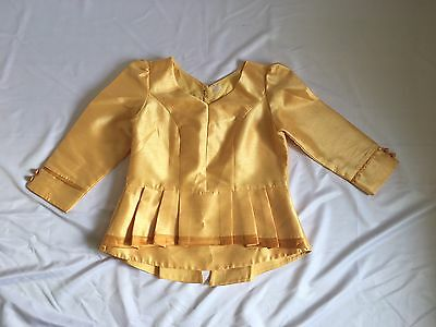 Laos Lao  Traditional  Synthetic Silk Peplum Top Gold Size 36