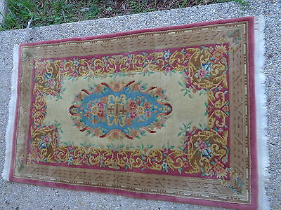 Vintage 1930's Persian Hand Knotted Wool Rug (3 by 5 Feet)