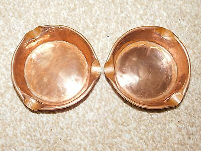 Pair Of Antique Hand Crafted Arts & Crafts Art Nouveau Copper Ashtrays