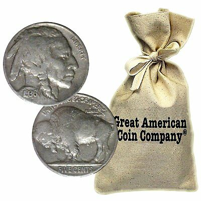 Bag Of 1,000 Buffalo Nickels Mixed Date Coins Full Dates Circulated (1000)