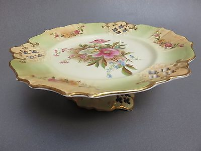 early CARLTON WARE BLUSH PEONY PATTERN RAISED CAKE STAND PLATE
