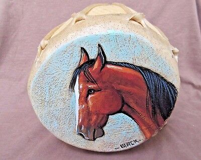 Navajo Rare Gorgeous Hand Made & Painted Two Sided Horse Drum by JC Black HP0055