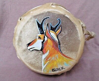 Navajo Rare Gorgeous Hand Made & Painted Two Sided  Drum by JC Black HP0056