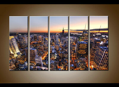Large 5 Piece Home Decor Wall Art New York USA City Painting Printed on Canvas